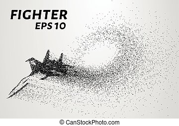 Fighter of the particles. Military aviation consists of small circles. The aircraft on the turn. Vector illustration