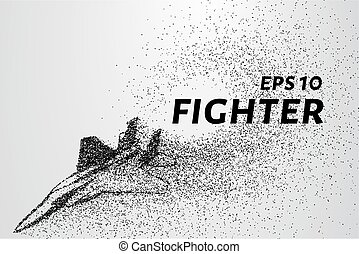 Fighter of the particles. The silhouette of the fighter is of little circles.