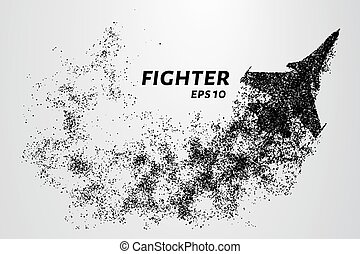 Fighter of the particles. The silhouette of the fighter is of little circles