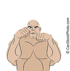Fighter on a white background. A strong man in battle rack ready to punch. MMA athlete in ring before enemy. Vector illustration.