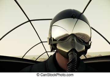 Fighter Pilot In Flight. Military Airplane War Army