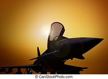 Fighter Plane at Sunset