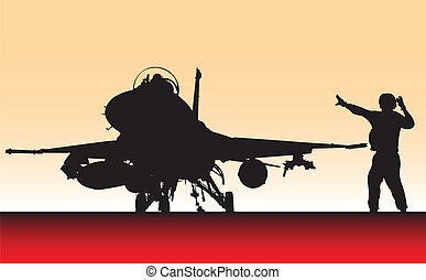 Fighter plane. - F16 fighter plane.