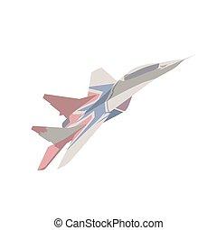 Fighter plane flying, flat design isolated vector illustration