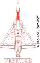 Fighter plane. - A detailed top view of a fighter plane.