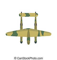 Fighter plane transport top view vector icon defense. Weapon combat attack military warplane illustration above