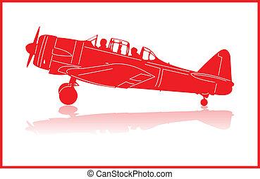 Fighter planes. - World War 2 fighter plane in red...