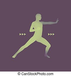 Fighter. Sports concept. 3D Model of Man. Sport Symbol. Design Element.