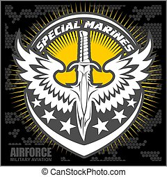 Fighter squadron airforce - military aviation - vector...