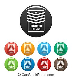 Fighter troop wings icons set color