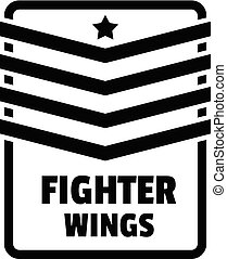 Fighter troop wings logo. Simple illustration of fighter troop wings vector logo for web design isolated on white background