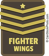 Fighter wings icon logo, flat style