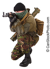 fighter with ak-47 rifle with kalashnikov rifle isolated on ...