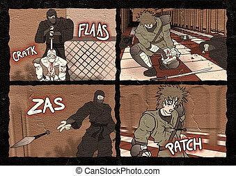 fighters comic scene