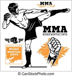 Fighters of martial mixed arts. Sport club emblem. Vector illustration.