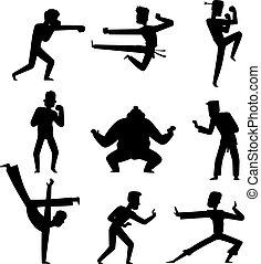 Karate taekwondo kicks and punches vector icon set Vector