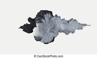 Fighting, a symbol of good and evil. The collapse of smoke in slow motion on a white background. Colorful abstract animation of a smoke explosion. Close up view.