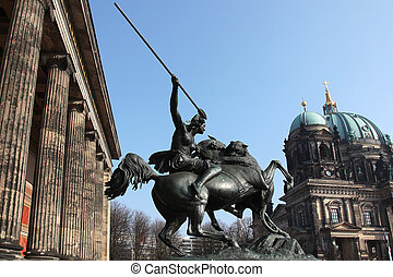 Fighting Amazonian woman in front of the Altes Museum in Berlin, Germany
