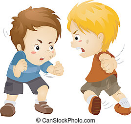 Fighting Boys - Illustration Featuring Two Boys Fighting