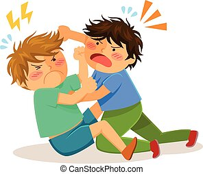 fighting boys - two boys hitting each other on a fight
