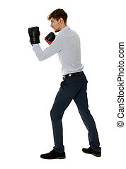 Fighting businessman