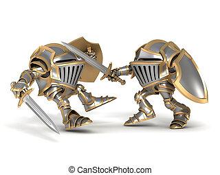 Fighting Cartoon knights