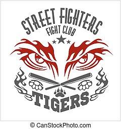 Fighting club emblem - tiger Eye. Labels, badges, logos. Monochrome graphic style