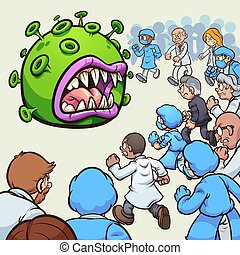 Fighting corona virus - A large group of doctors and nurses ...