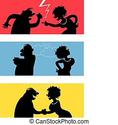 Cartoon of fighting couple, weather icons symbolise temper