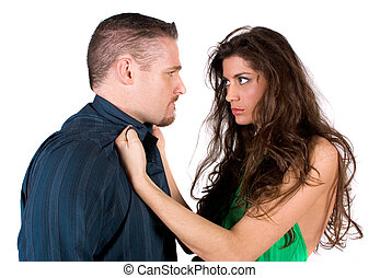 Fighting couple - A couple in the middle of a physical fight