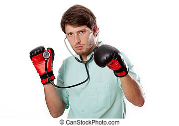 Fighting doctor on an examination