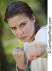 fighting fitness woman