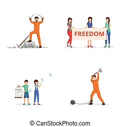 Fighting for freedom vector illustrations set. Female activists with placard on demonstration, children setting pigeons free from birdcage. Chained person, prisoner tearing chains, handcuffs