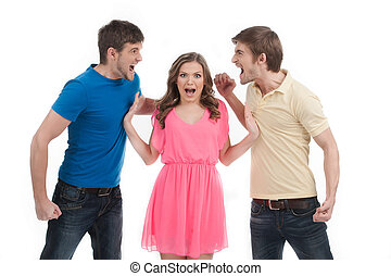 Fighting for girl. Two angry men fighting for girl while standing isolated on white