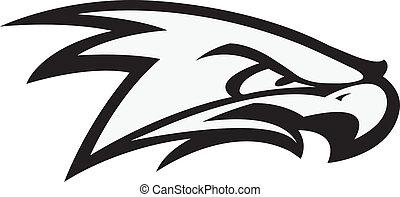 Black and white illustration of hawk head. Vector file.
