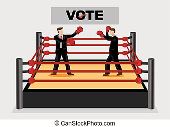 Fighting it Out for Voting Candidates Cartoon Vector Illustration