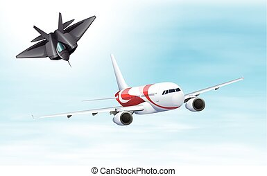 Fighting jet and airplane flying in sky