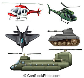 Fighting jetplane, choppers, cannon and tank