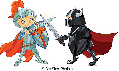 Fighting Knights - Illustration of two fighting knights