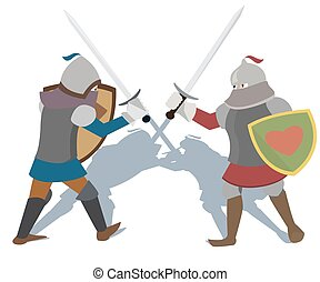 fighting knights vector cartoon - knights of early Middle...