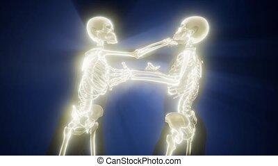fighting men with visible bones