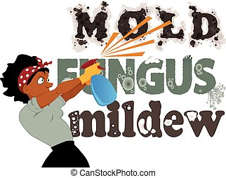 Black woman spraying from a spray bottle words Mold, Fungus and Mildew on the wall, vector illustration, no transparencies, EPS 8
