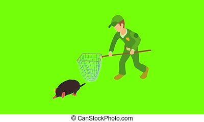 Fighting pests icon animation cartoon best object on green screen background