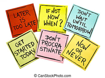 fighting procrastination - set of motivational notes -...
