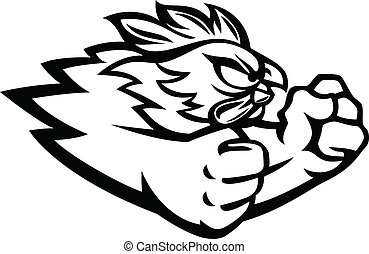 Fighting Rooster - Fighting rooster cartoon character...