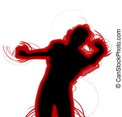 Fighting Silhouette - A silhouette of a man who is fighting....