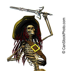 Fighting Skeleton Pirate - A skeleton pirate with dreadlocks...