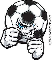 Fighting Soccer Ball Vector Illustr - Soccer Ball with Face...