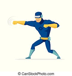 Fighting superhero - modern cartoon people character illustration