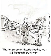 Fighting the Civil War - real estate agent shows conflicted...
